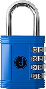 Padlock - 4 Digit Combination Lock for Gym Sports School & Employee Locker Outdoor Fence Hasp and Storage - All Weather Metal & Steel - Easy to Set Your Own Keyless Resettable Combo - Blue