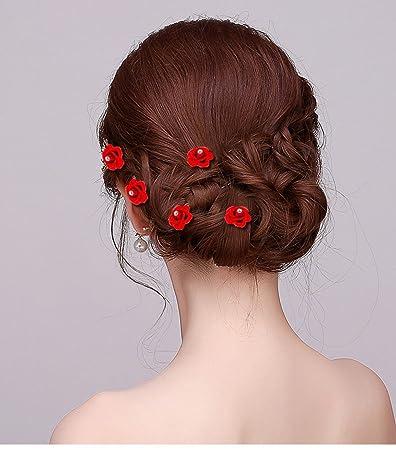 Amazon wedding bridal red rose twist flower hair accessories wedding bridal red rose twist flower hair accessories hair pins women spiral hair twists coils spirals mightylinksfo