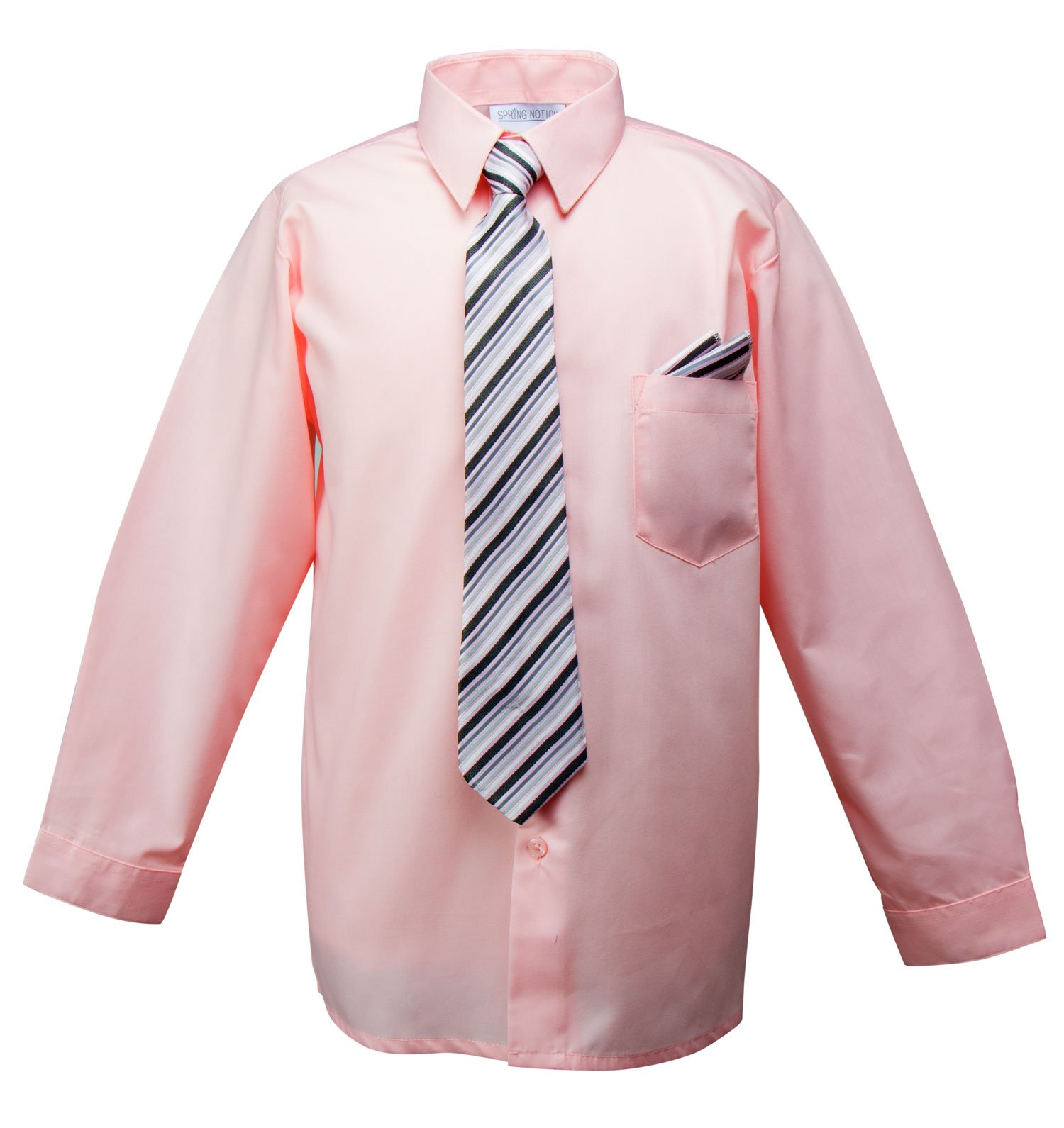 Spring Notion Boys Dress Shirt with Tie and Handkerchief Set 5 Pink