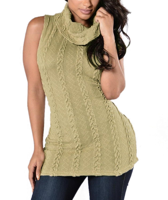 Doris Women Sleeveless Cable Pullover Turtle Neck Sweater Tunic