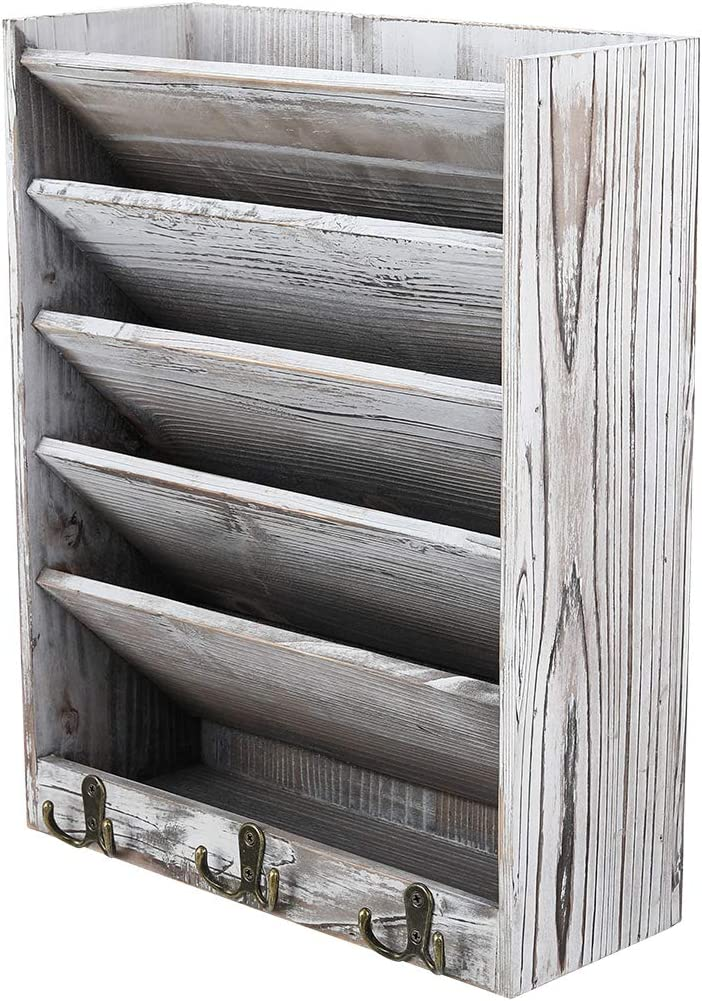 Superbpag Wood Hanging Wall File Holder Organizer Magazine Literature Rack with 6 Hooks