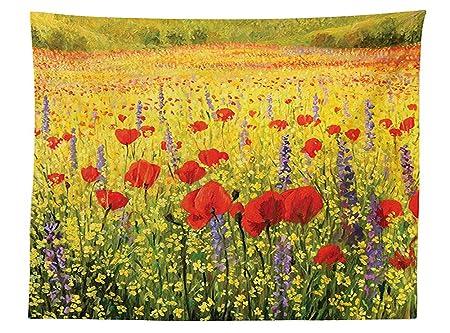 Fiori Gialli Da Campo.Vipsung Poppy Decor Tovaglia A Campo Colorato Con Papaveri Fiori