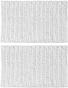 "mDesign Soft 100% Cotton Luxury Hotel-Style Rectangular Spa Mat Rug, Plush Water Absorbent - for Bathroom Vanity, Bathtub/Shower, Machine Washable - Braided Design, 34"" x 21"" - 2 Pack - White"