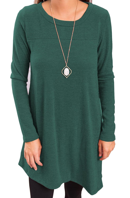 iGENJUN Womens Long Sleeve Scoop Neck Button Side Tunic Dress