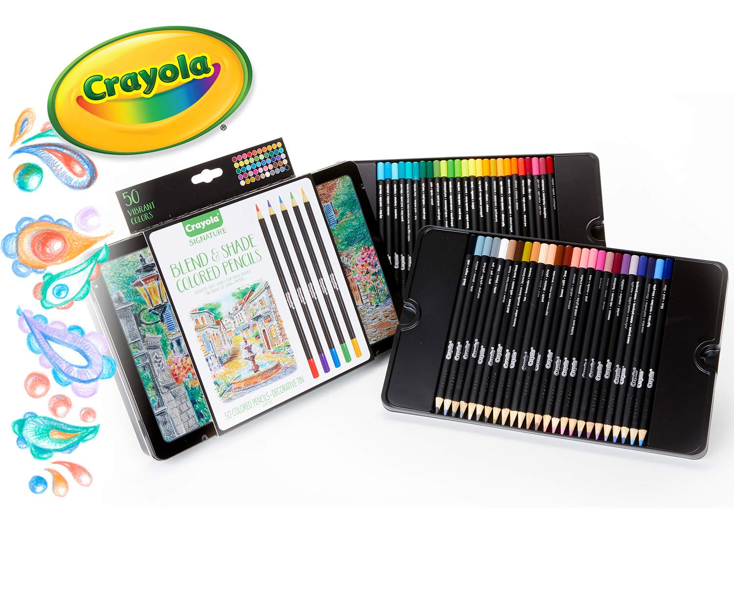 Crayola Blend & Shade Colored Pencils in Decorative Tin, Assorted Colors, Gift, 50Count by Crayola