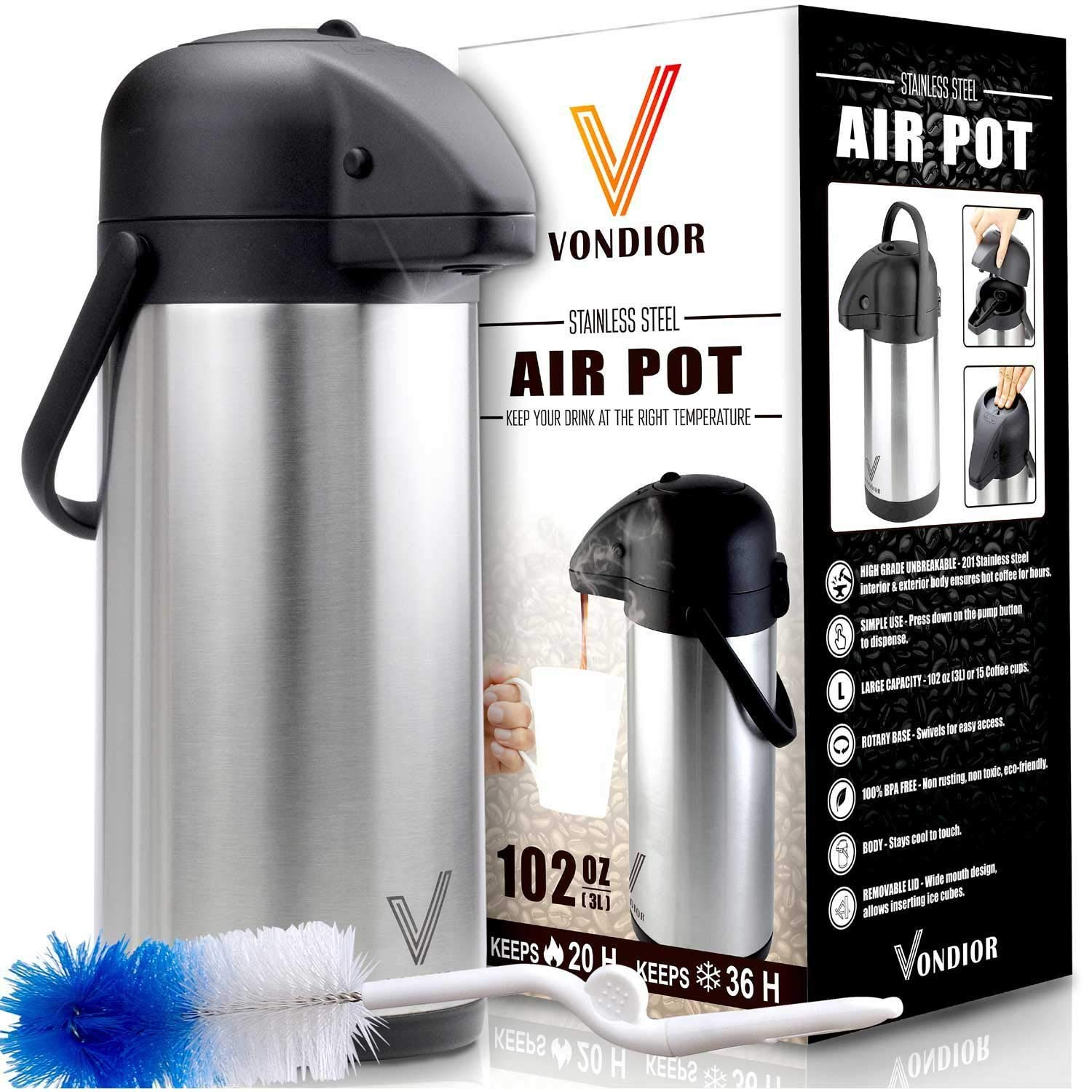 Thermal Coffee Airpot - Beverage Dispenser By Vondior