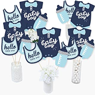 product image for Hello Little One - Blue and Silver - Boy Baby Shower Party Centerpiece Sticks - Table Toppers - Set of 15