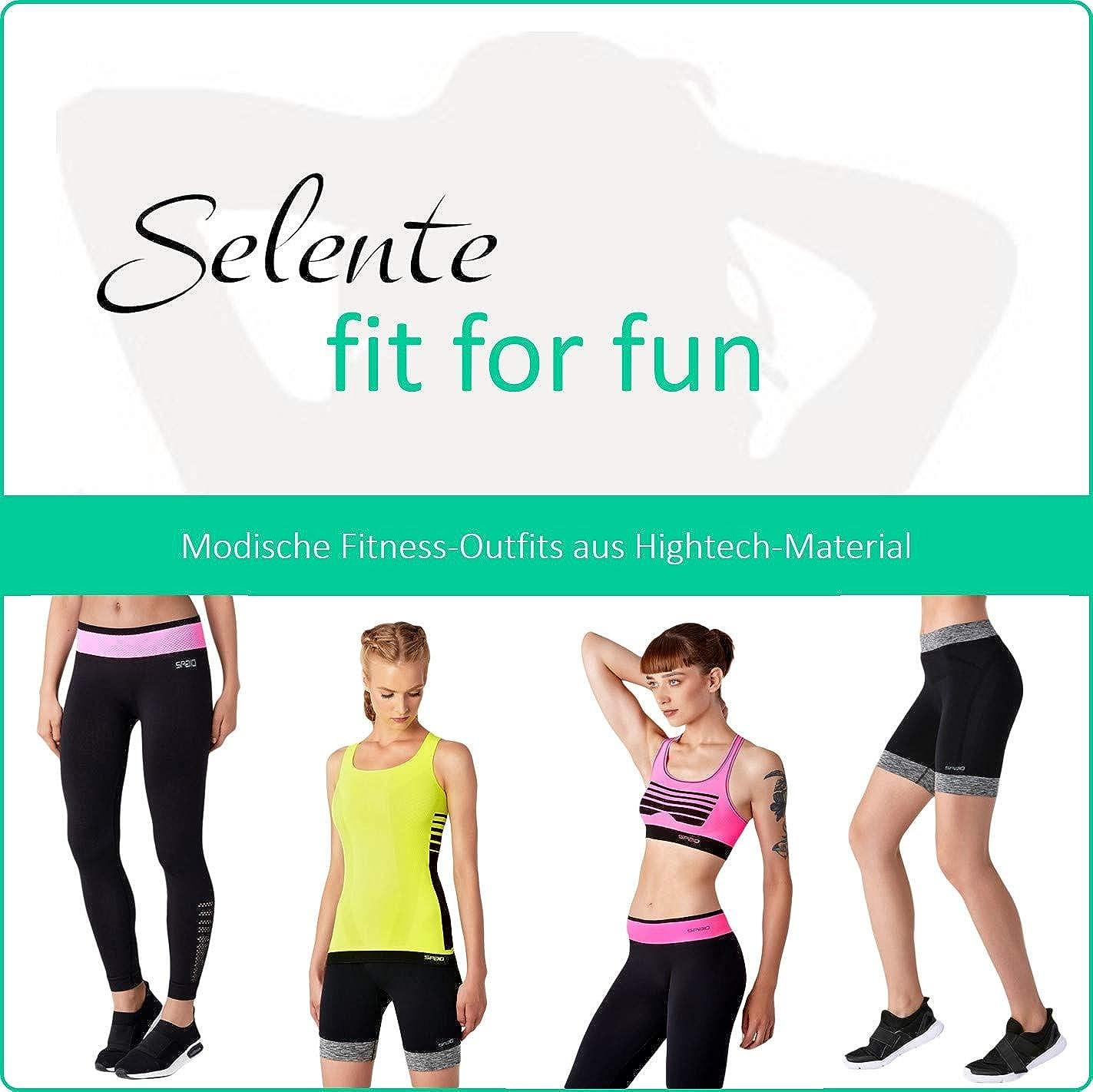 Selente Fit for Fun Completo Fitness Donna combinabile con Tecnologia Seamless: Leggings Made in Italy. Reggiseno Sportivo Maglia o Pantaloncini
