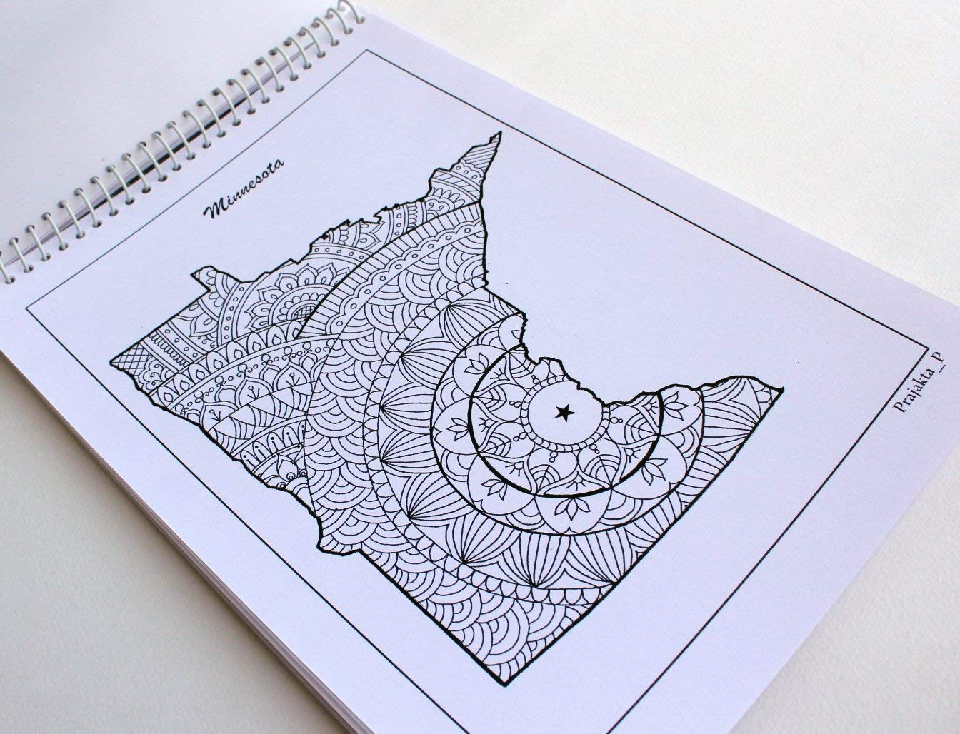 spiral bound Patriotic coloring gifts USA state maps adult coloring book stress relieving patterns for all Volume 08
