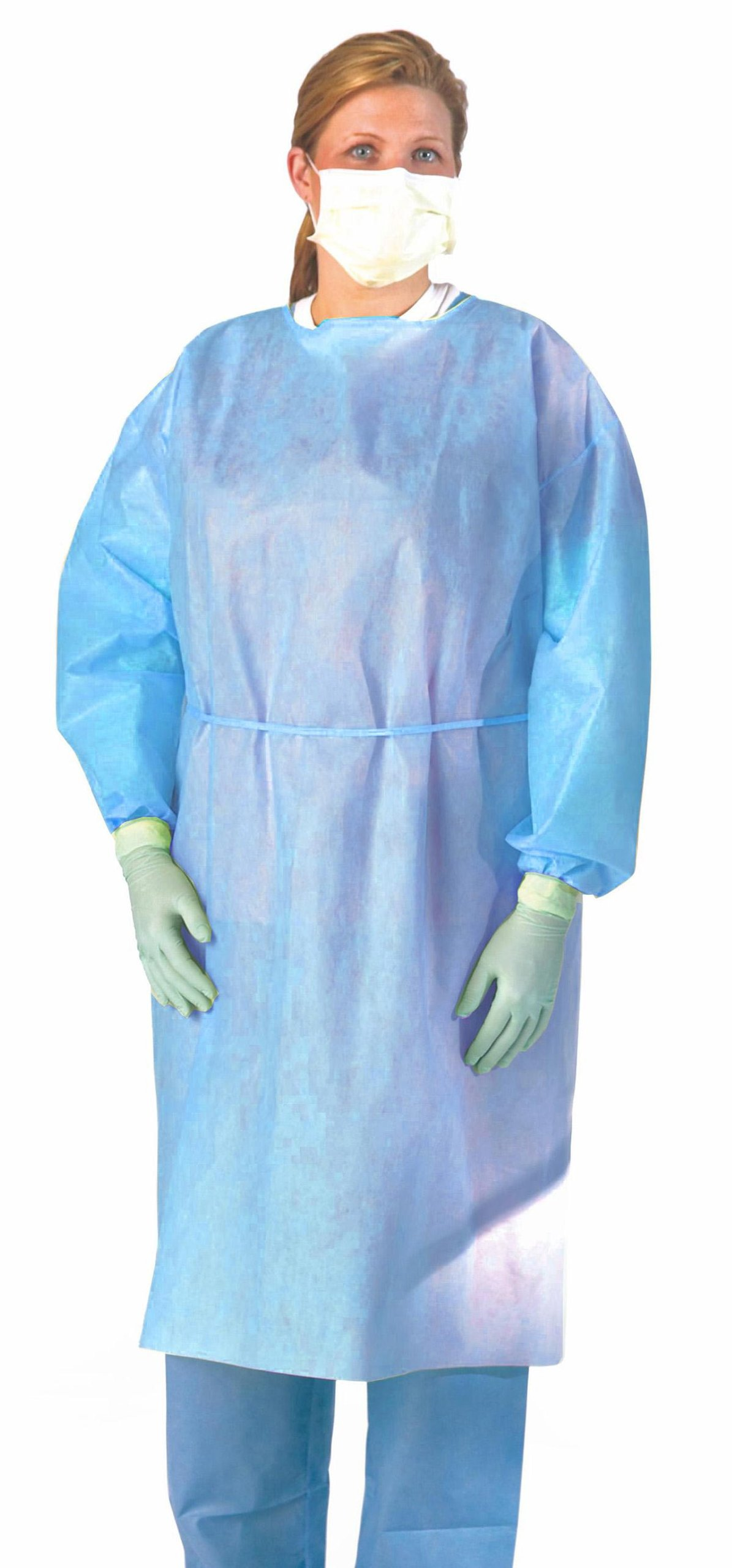 Medline NON27SMS3XL Medium Weight Multi-ply Fluid Resistant Isolation Gown, X-Large, Blue (Pack of 100)