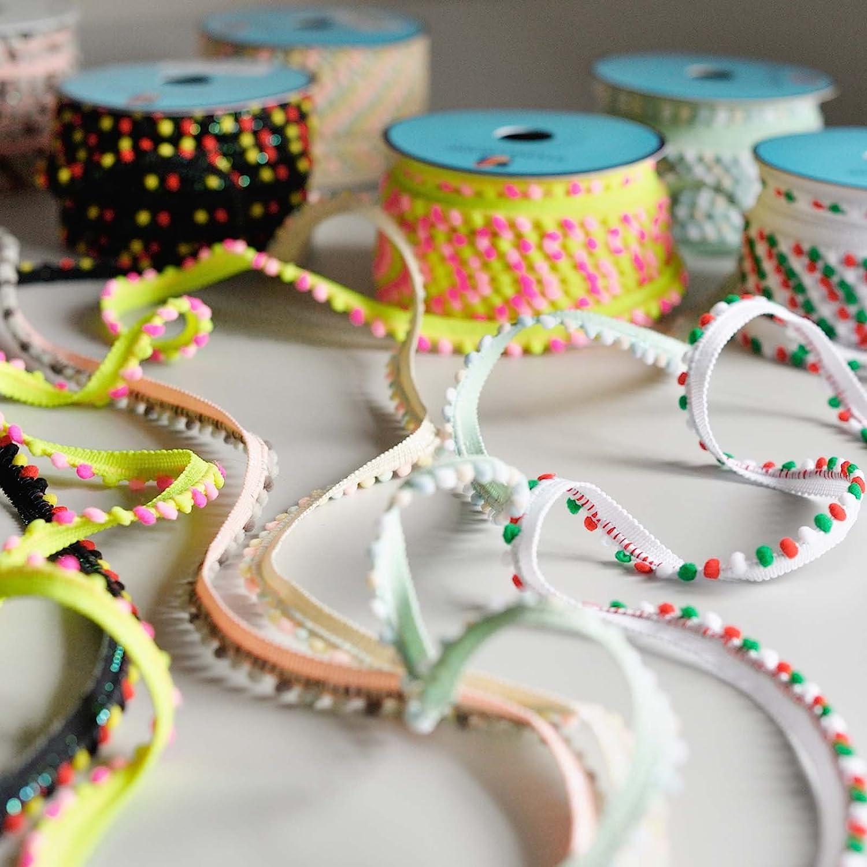 Ribete de minipompones, borlas y flecos para costura, por metro, 6 ...