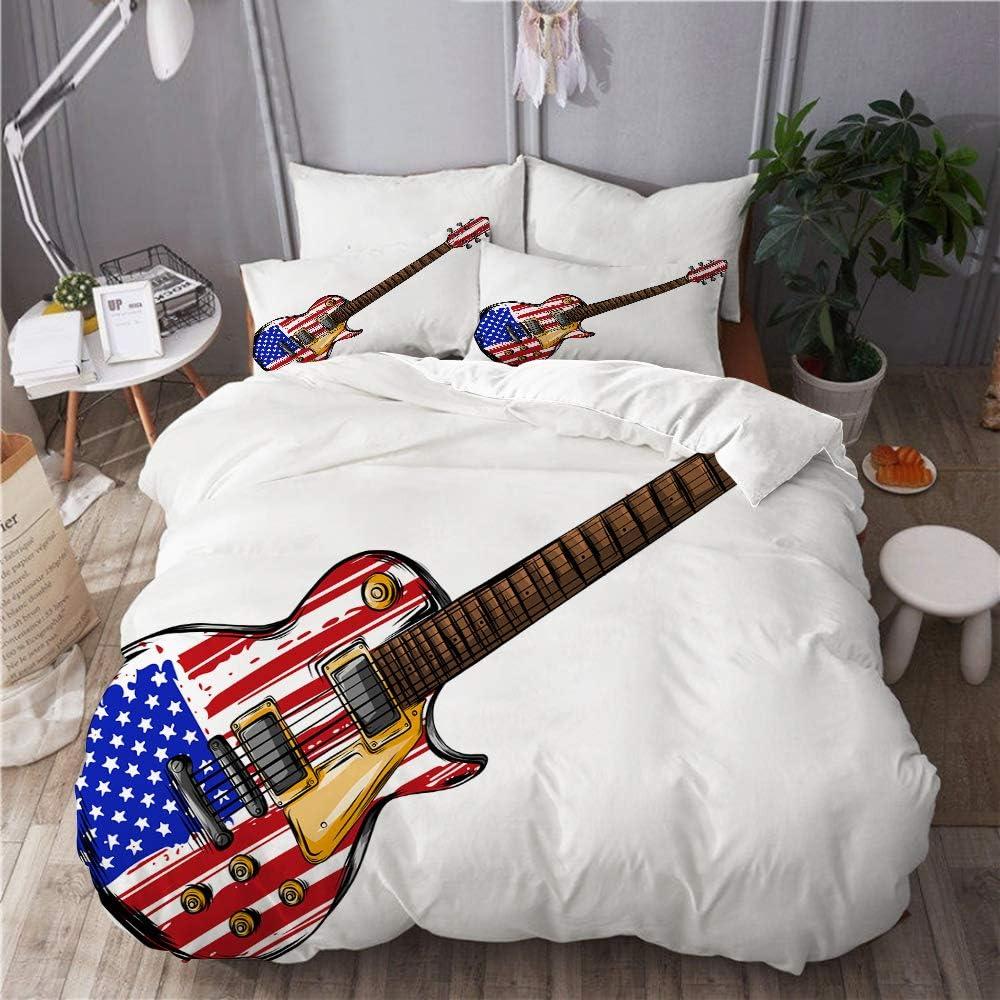 GugeABC Juego de Ropa de Cama 3 Piezas Microfibra,Guitarra Eléctrica Bandera Americana,1 Funda Nórdica y 2 Funda de Almohada (Cama 200x200)