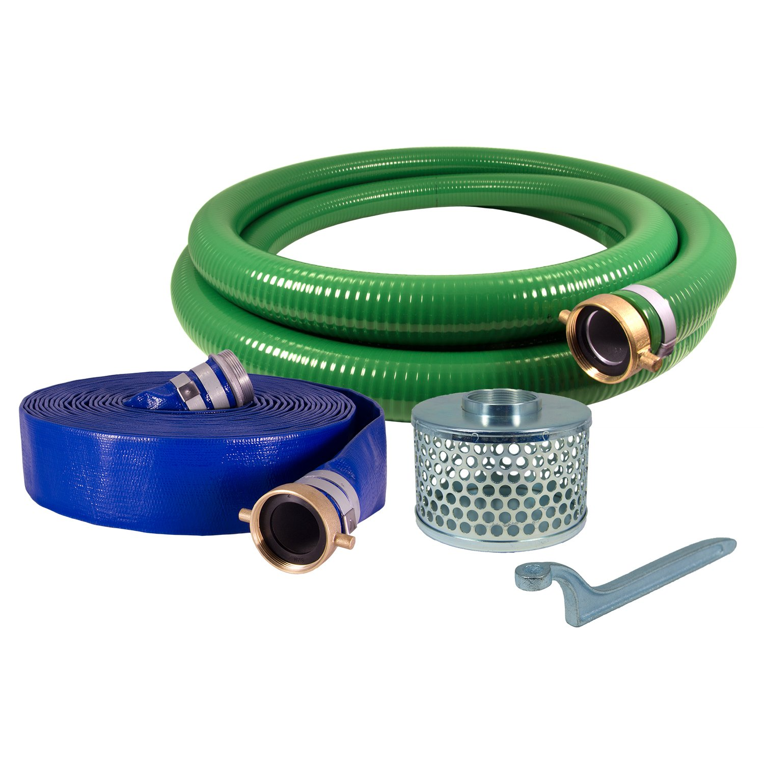 "Anderson Process 1-1/2"" PVC Water Suction and Water Discharge Hose Kit - Standard Water Pump Hose Kit w/ Male X Female Pin-Lug Couplings"