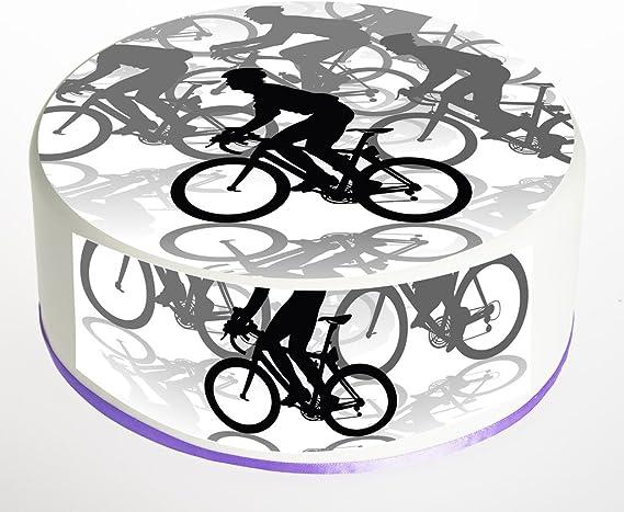 Ciclo, Bicicleta, ciclista, bicicleta, bicicleta decoración para tarta para decoración para tarta para. Redondo. Pancarta de decoración para tarta para comestibles de papel de arroz oblea 7,5 pulgadas con libre.: Amazon.es: Hogar