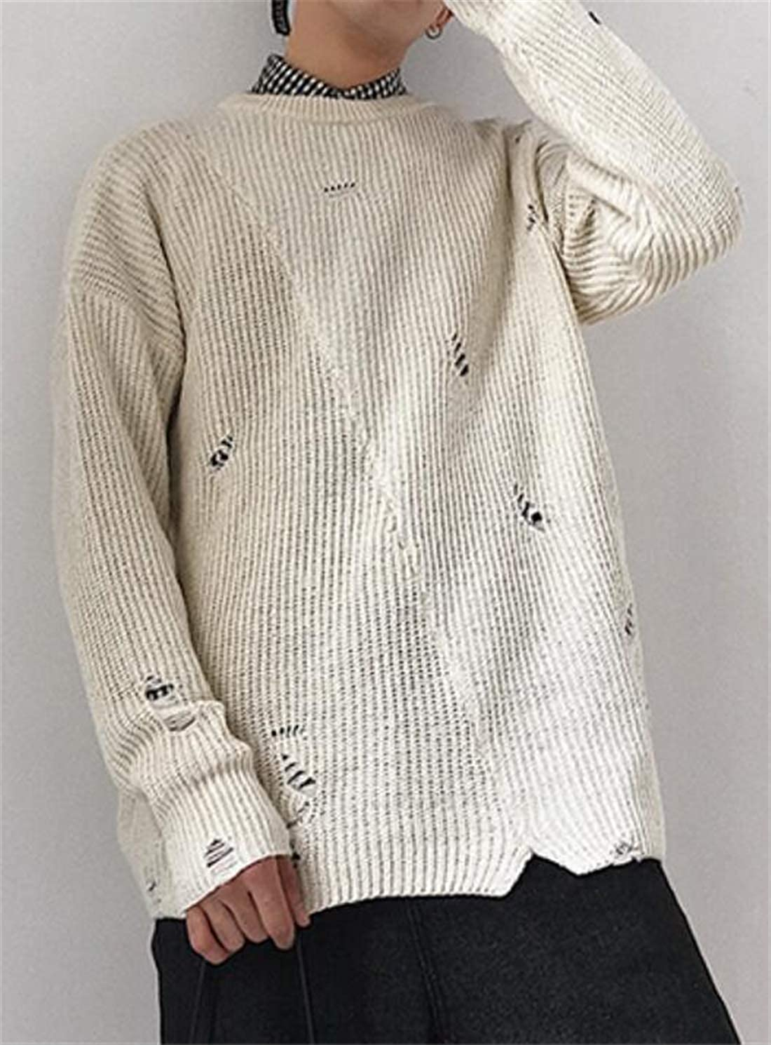 YYear Men Hole Ripped Loose Fit Crew Neck Knitting Casual Winter Long Sleeve Sweater