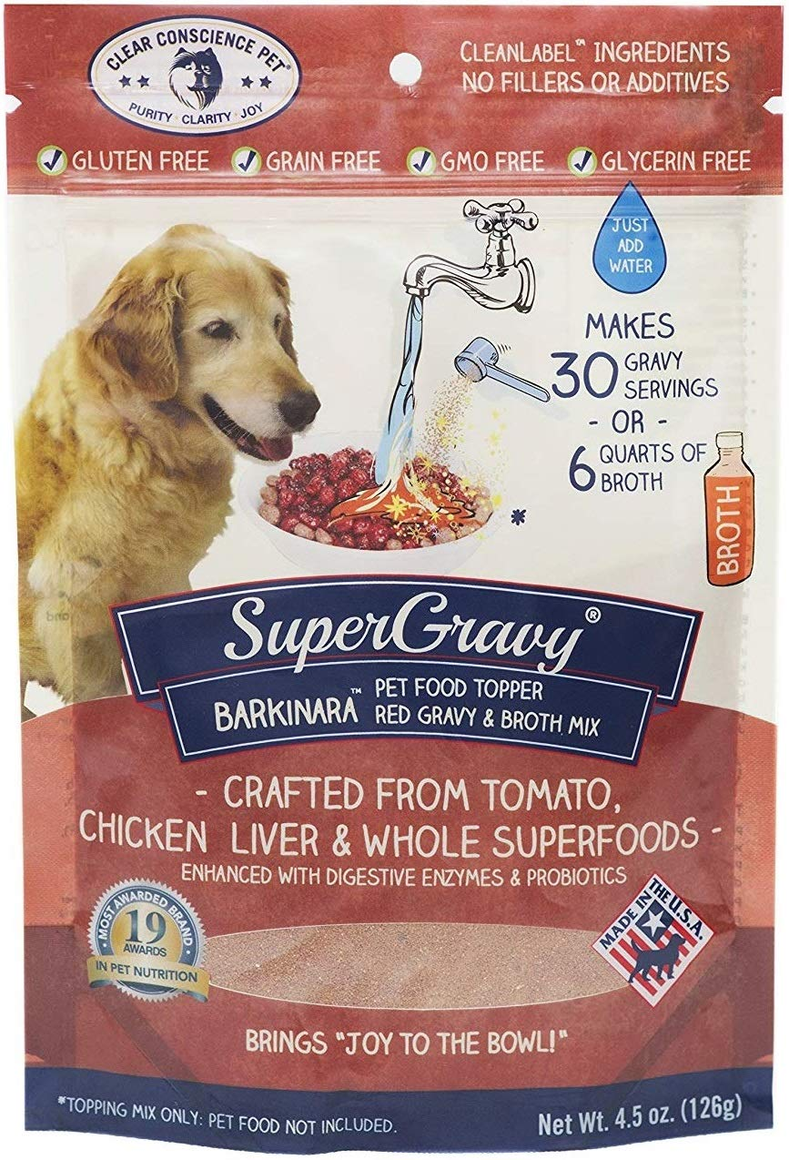 BARKinara SuperGravy - Natural Dog Food Gravy Topper - Hydration Broth Food Mix - Human Grade - Kibble Seasoning for Picky Eaters - Gluten Free & Grain Free by Clear Conscience Pet
