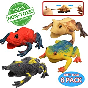 Frog Toys,4.5 Inch Assorted Rubber Frog sets(6 PACK),Food Grade Material TPR Super Stretches,With Gift Bag And Learning Study Card,Zoo World Realistic Frog Figure Squishy Toys For Boy Kids Bathtub