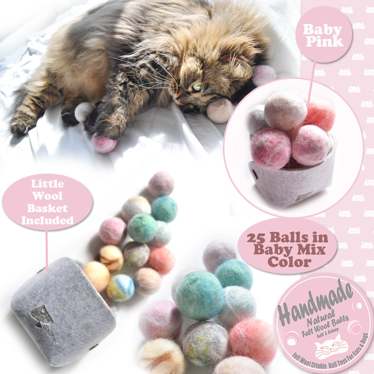 Ballmie Felt Wool Cat Toys Ball with catnip and bell, Natural Handmade (Baby Mix (25 Units)) by Ballmie (Image #3)