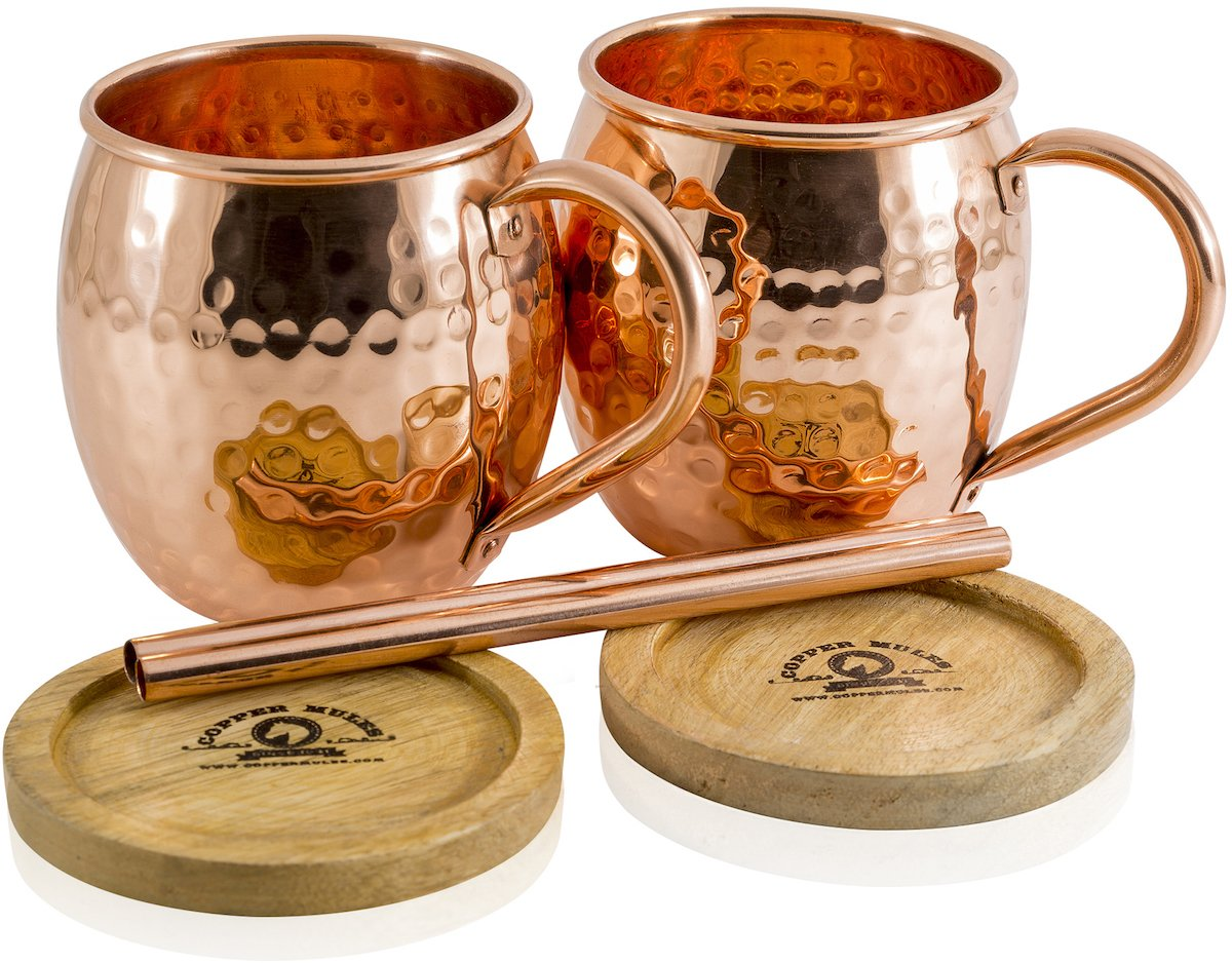 Set of 2 Moscow Mule Copper Mugs by Copper Mules – Handcrafted From 100% Pure Copper and Hand Hammered - Riveted Handles for Strength – Holds 16 ounces - BONUS Copper Straws, Wood Coasters, eBook RC-1
