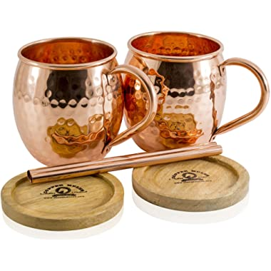 Moscow Mule Copper Mugs Set of 2 by Copper Mules – Hand Hammered - Classic Riveted Handles – Holds 16oz