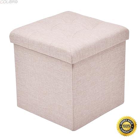 COLIBROX  Folding Storage Cube Ottoman Seat Stool Box Footrest Furniture  Home Decor Beige,