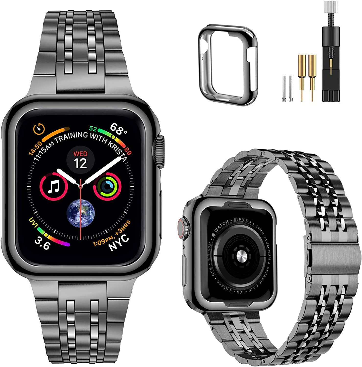 MioHHR Upgraded Version Metal Bands Compatible with Apple Watch band 38/ 40/ 42/ 44mm, Solid Stainless Steel Replacement Wristbands Strap for iWatch SE Series 6/5/4/3/2/1