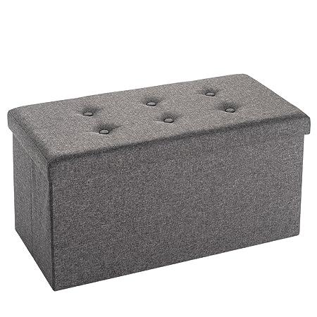 Folding Storage Bench Ottoman Foldaway Linen Fabric Storage Ottoman Foot  Stool Pouffe PURLOVE® (76