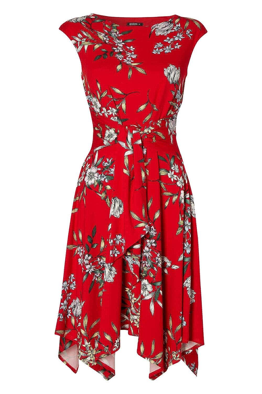 6a221b8bb43 Roman Originals Robe Femme Rouge Asymétrique Motif Floral Cérémonie  Vacances été Robes - Rouge - Rouge - Taille 46  Amazon.fr  Vêtements et  accessoires