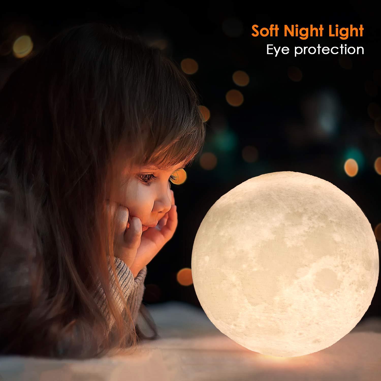 luna con luz led relieve redonda