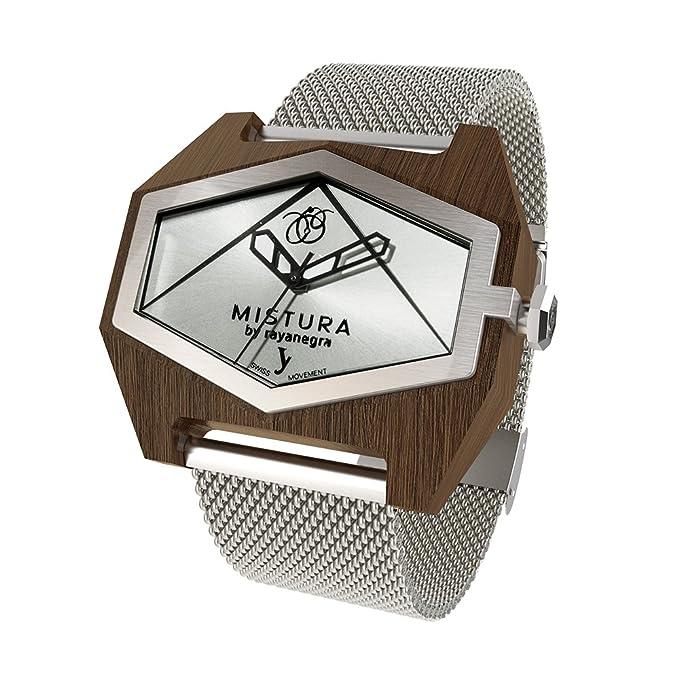 Amazon.com: MISTURA WOOD WATCH INFINITE MESH PUI SILVER: Mistura: Watches