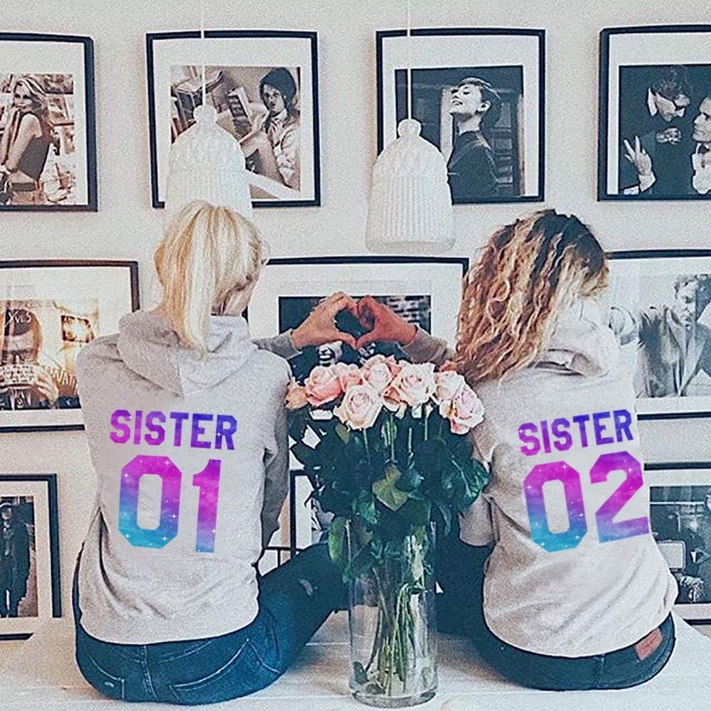 Beste Freunde Sister Hoodie Kapuzenpullover für Zwei Damen Best Friends BFF Geschenke Pullover Sisters Kapuzenpullis Geschenk Pulli 2 stücke Grau-sister-01