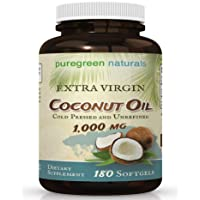Coconut Oil Capsules - 1000 mg Extra Virgin - 180 Softgels - Great Pills for Energy...