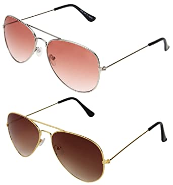 f19768844d9 SHEOMY SUNGLASSES COMBO - SILVER ORANGE AVIATOR SUNGLASSES AND AVIATOR  GOLDEN BROWN SUNGLASSES WITH 2 BOXES Best Online Gifts  Amazon.in  Clothing    ...