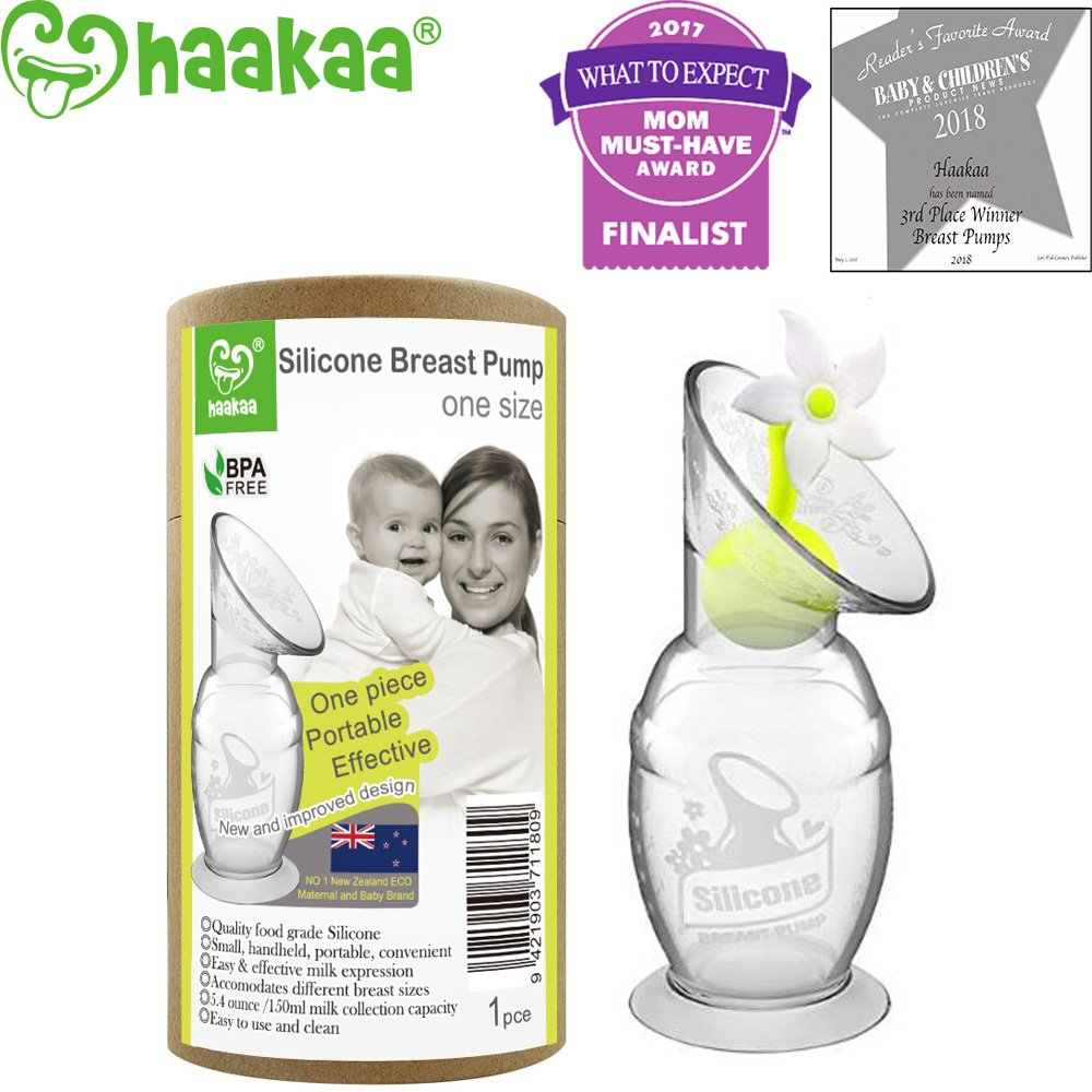 Haakaa Silicone Breast Pump with Suction Base and Flower Stopper 100% Food Grade Silicone BPA PVC and Phthalate Free (5oz/150ml) (Orange) HK001-02-150ml