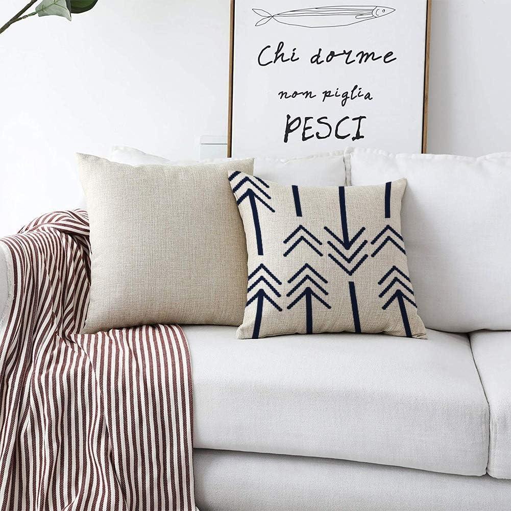 HL HLPPC Arrows Throw Pillow Case Retro Black Bold Arrows Cotton Linen Cushion Cover 18 x 18 Inches Standard Square Decorative Pillow Cover for Sofa ...