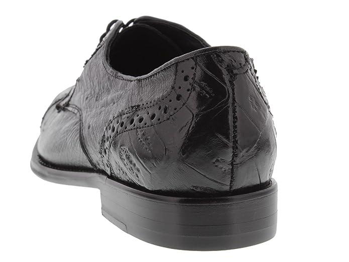 22b54d478df Amazon.com   Dolce Pelle - Men's Black All Real Crocodile Ostrich Skin  Derby Shoe Toe Cap   Shoes