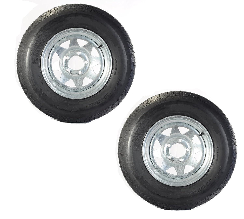 eCustomRim Two Trailer Tires & Rims ST205/75D15 F78-15 205/75-15 15' 5 Lug Galvanized Spoke