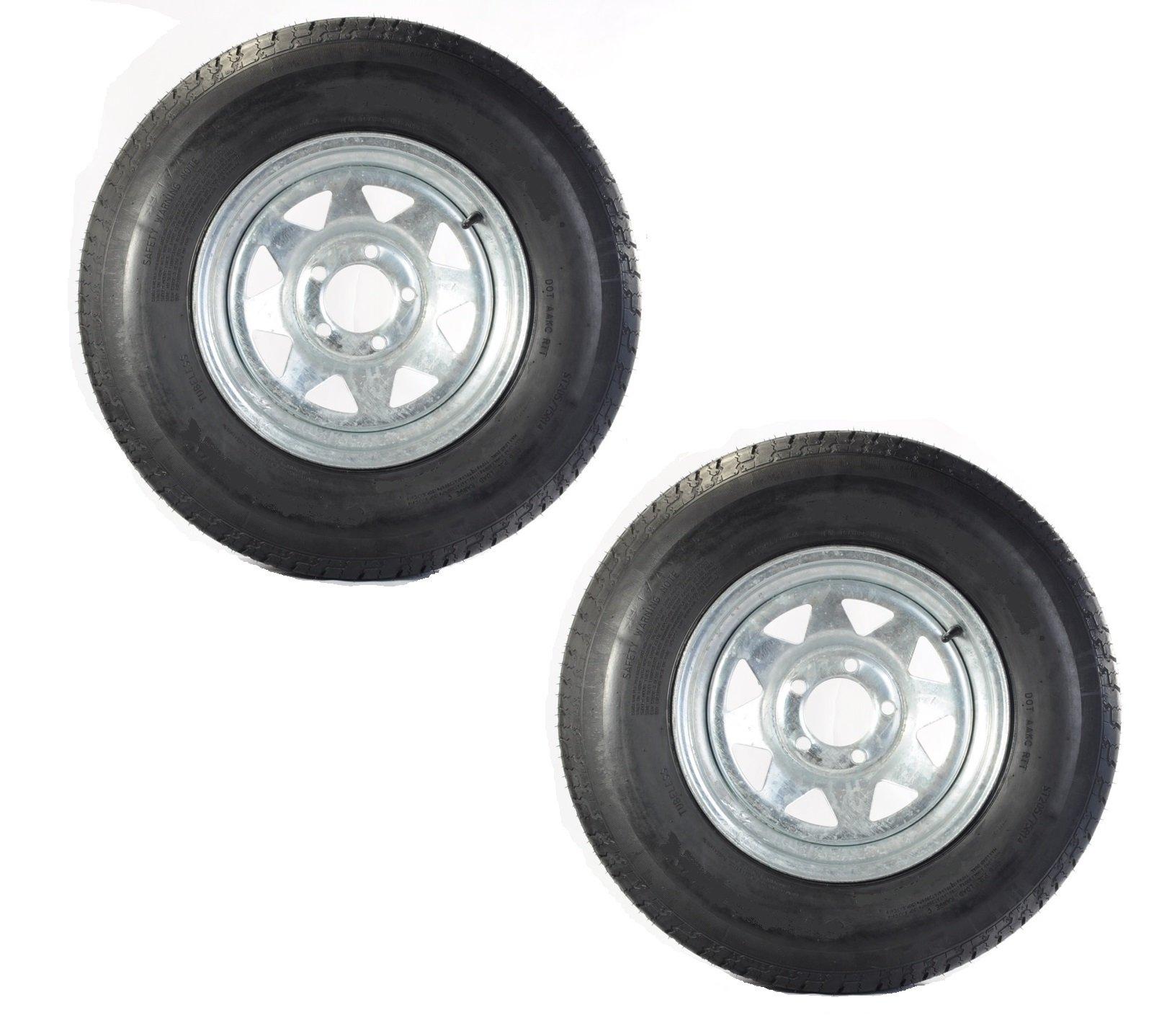 Two Trailer Tires & Rims ST205/75D15 F78-15 205/75-15 15'' 5 Lug Galvanized Spoke