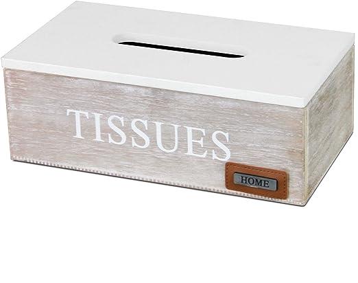 MultiStore Caja para Pañuelos con Tapa 25x14x9cm Blanco/Marrón: Amazon.es: Equipaje