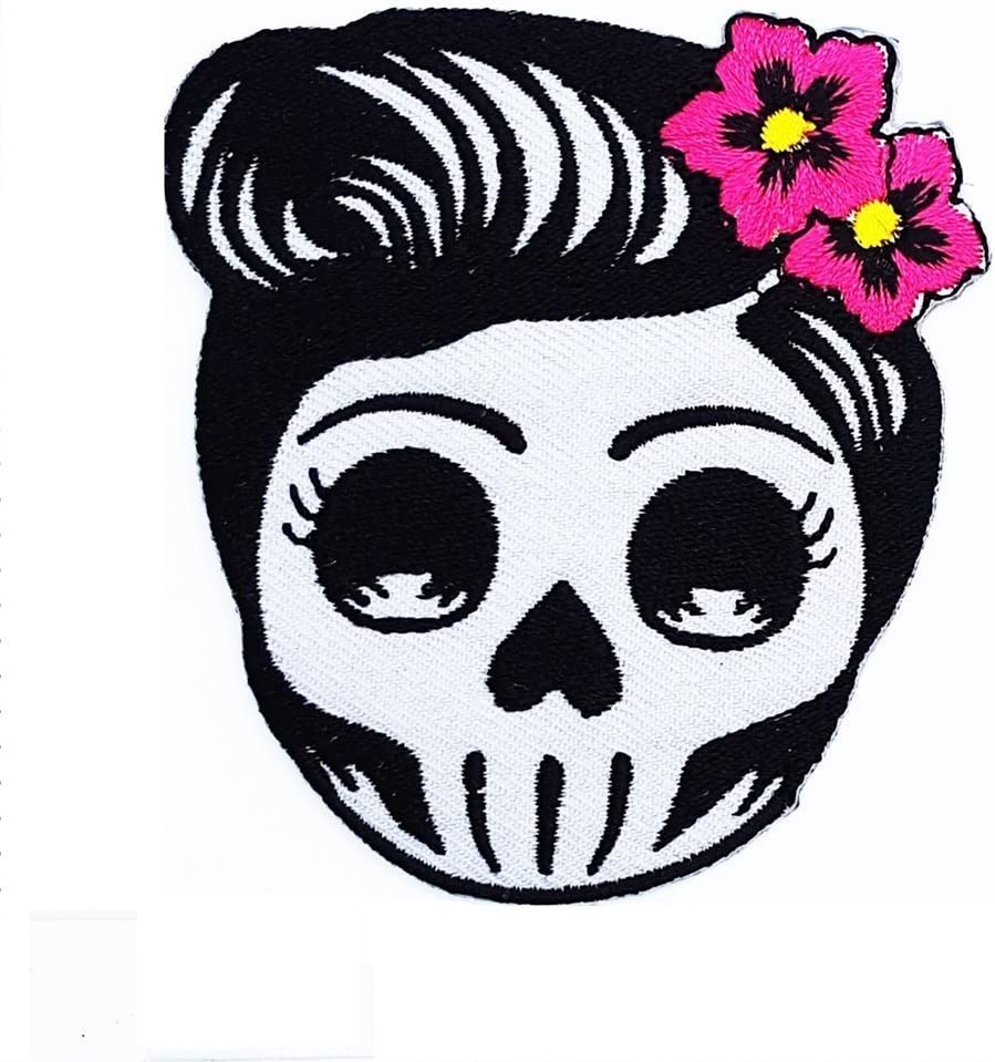 White Skull w//Pink Bow Tiny Iron On Embroidered Patch