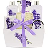 Bath Spa Gift Set, Christmas Gift Basket 6-Piece Lavender Scented Spa Basket Kits for Women, Contains Shower Gel, Bubble Bath