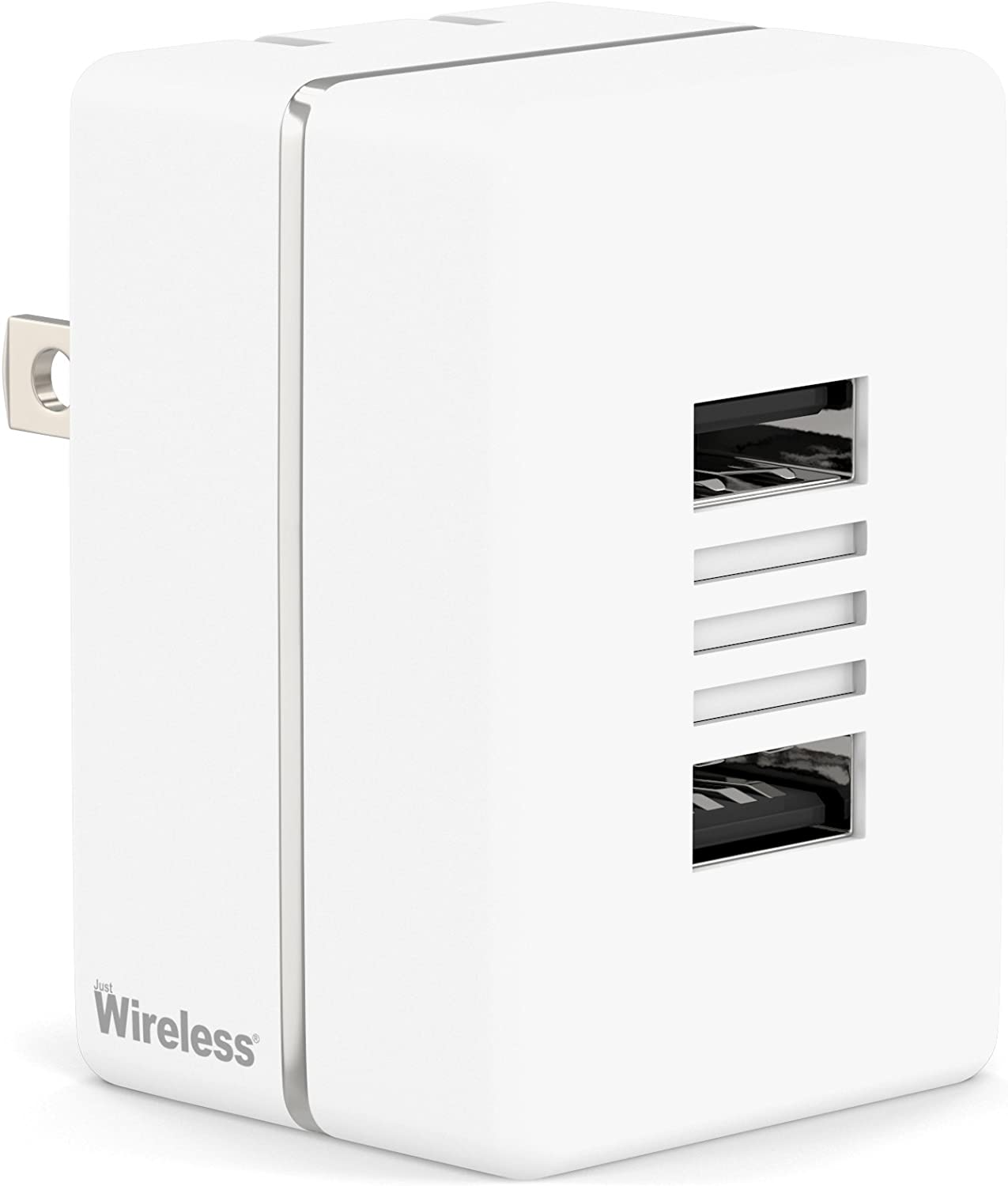 Just Wireless USB Wall Charger Dual Port 20W/4.2A Universal Phone Charger for Apple and Android Cell Phones and Devices (iPhone XS, XS Max, XR, X, 8, 8 Plus, 7, 6S, iPad, iPod, Samsung Galaxy) - White