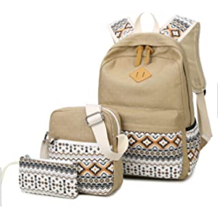 f6adc8cf0fee WKBY 3Pcs Set Girl Student Cute School Backpack Bookbags Backpack Hiking Bag  Canvas Crossbody Large