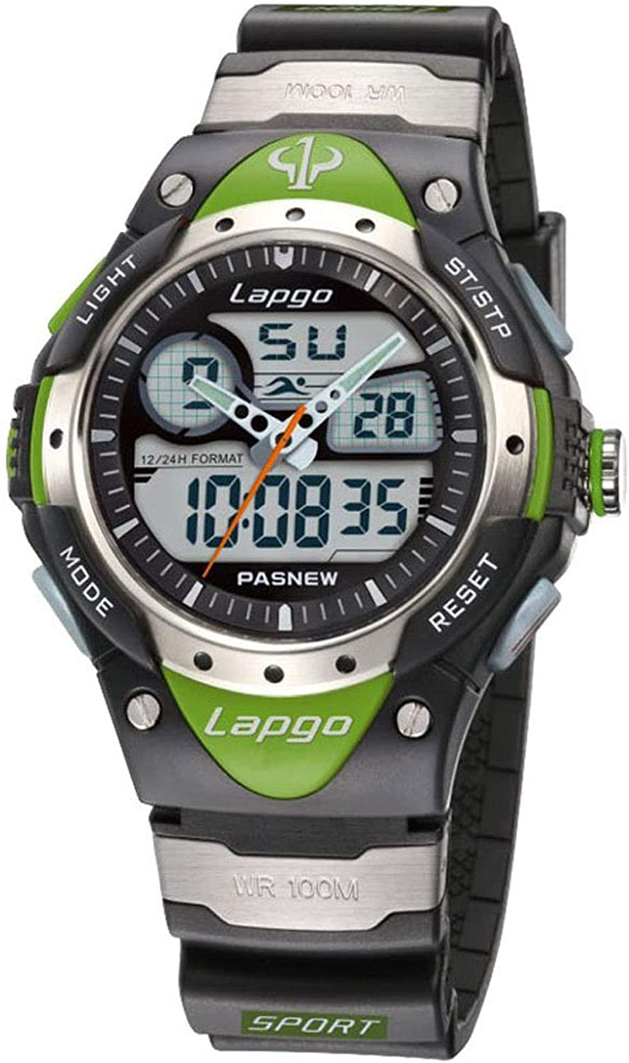 PASNEW Boys Watch Analog Digital Dual Time Watch Waterproof Sports Casual Boys Wrist Watches 388ad Green: Watches