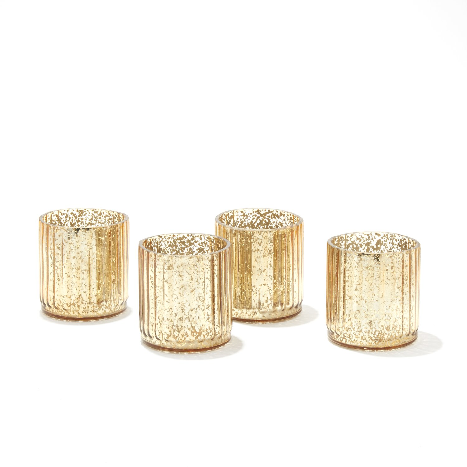 LampLust Gold Mercury Glass Candle Holder - Decorative Accessory for Holidays, Weddings, Parties and Home Decor LC004224