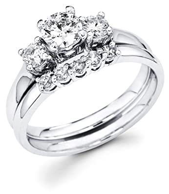 Charmant Size   4   14k White Gold Three 3 Stone Round Diamond Engagement  Anniversary 2 Ring