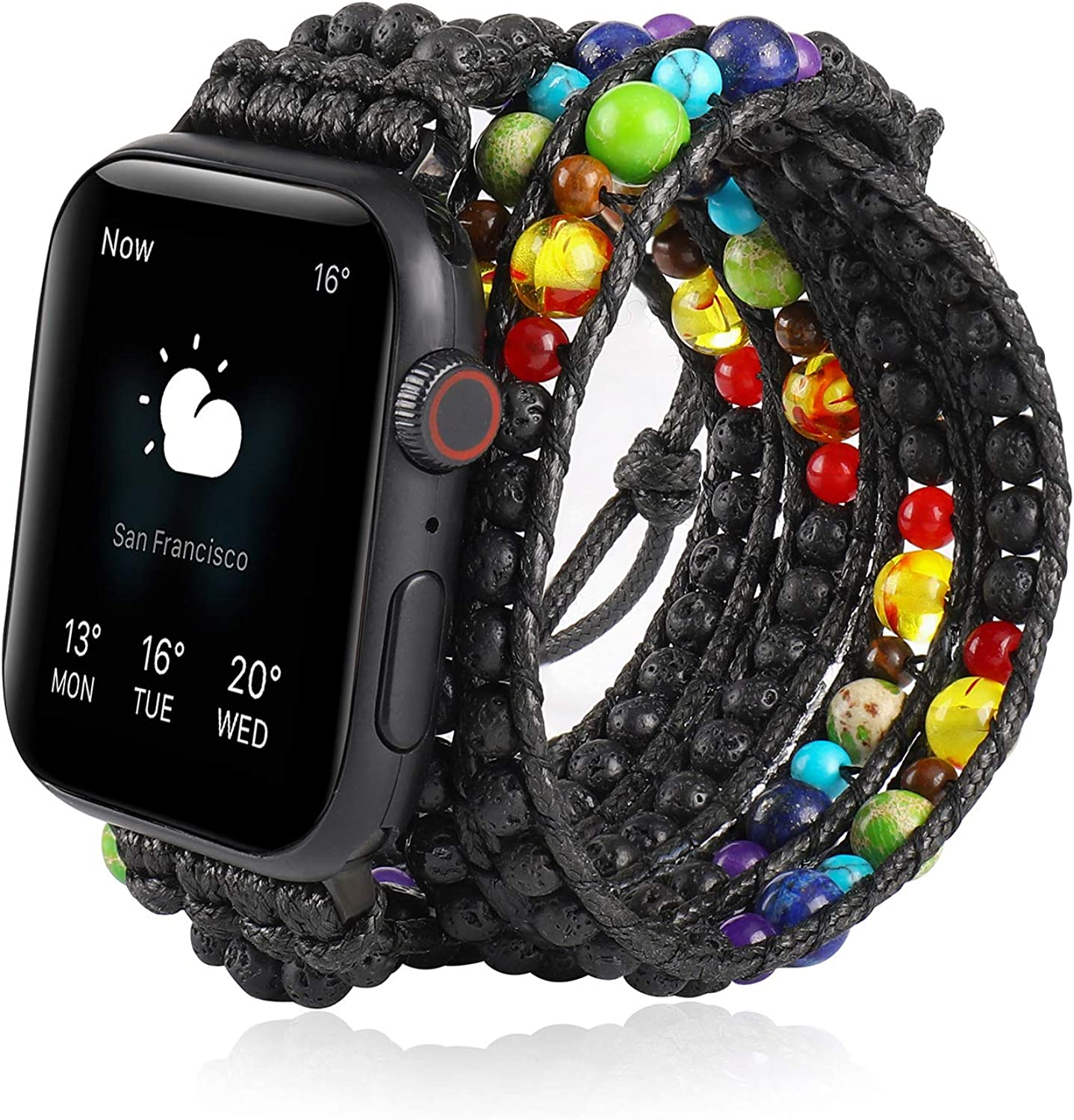 TINOBAND Compatible with Apple Watch Bands Beaded 38mm 40mm, 42mm 44mm for Women Men, 7 Chakra Bracelet Watch Strap Wristbands for Apple iWatch SE Series 6 5 4 3 2 1