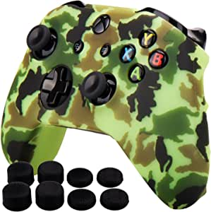 Pandaren Silicone rubber cover skin case anti-slip Water Transfer Customize Camouflage for Xbox One/S/X controller x 1 Yellow + FPS PRO extra height thumb grips x 8