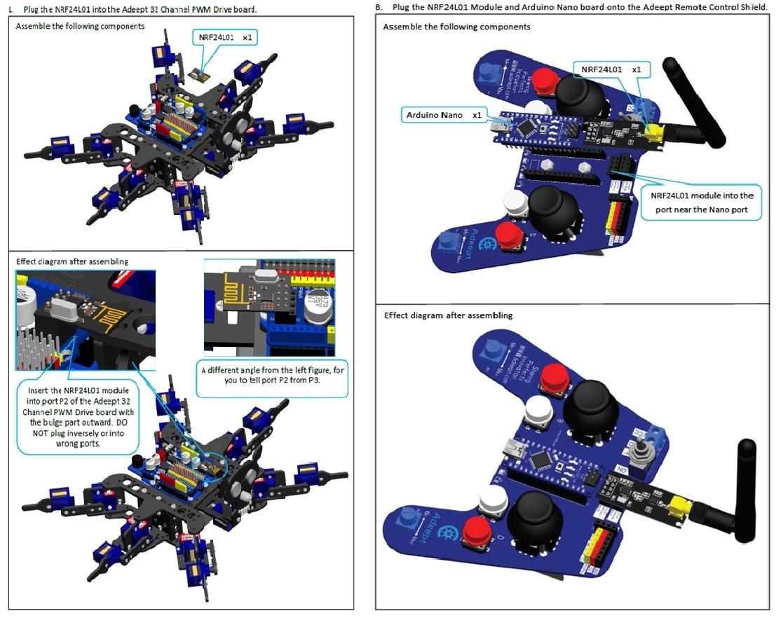 71picuVtLmL._SL1114_ amazon com adeept hexapod 6 legs spider robot kit for arduino uno  at readyjetset.co