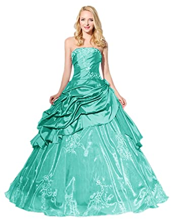 0c8b27d3011 APXPF Women s Long Taffeta Embroidery Quinceanera Dress Prom Dress Princess Ball  Gown Aqua US2